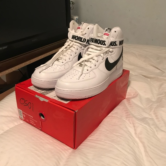 buy popular 9a60f 23b94 Supreme X Nike Air Force 1 world famous white